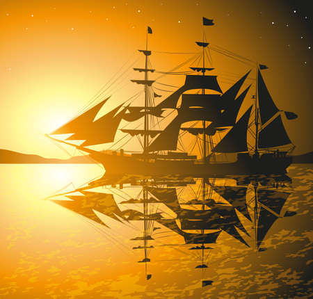 pirates ship against sunset Vector