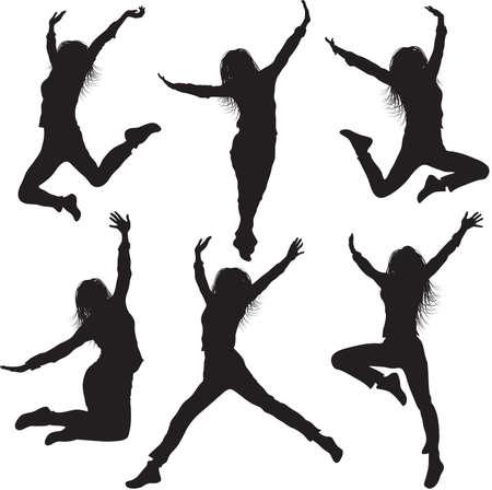 女性のシルエットをジャンプ  イラスト・ベクター素材