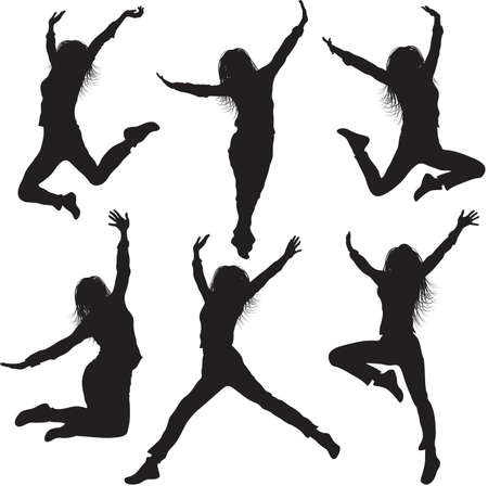 Jumping female silhouettes Stock Vector - 19615442