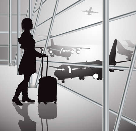 takeoff: passenger with luggage in airport, black-white