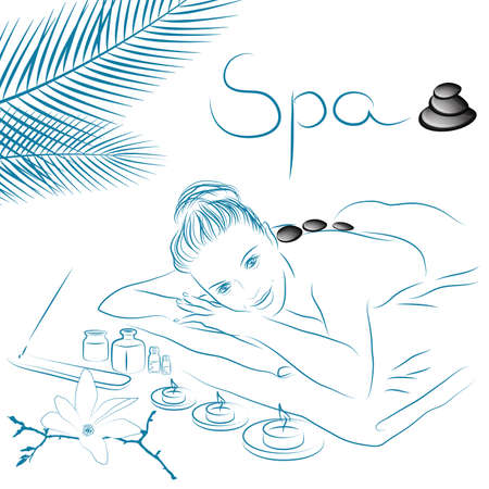 woman lying for spa massage  Vector