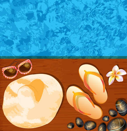 Flip-flops, hat, sunglasses and stones on the beach  Vector