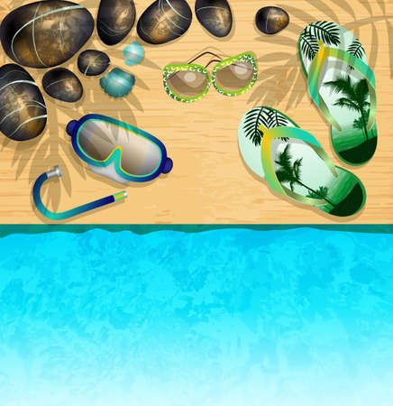 Flip-flops, Mask for Diving, sunglasses and stones on the beach Vector