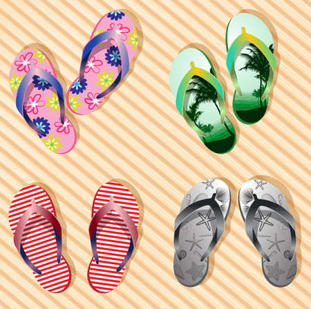 summer clothes: Vector colorful flip flops on bamboo wood texture background