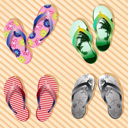 ropa de verano: Vector colorido flip flops en el fondo de bambú textura de madera