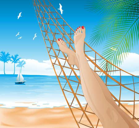 lying in: lying in the hammock on the beach