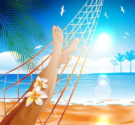 pied fille: Femme couchée dans le hamac sur la plage