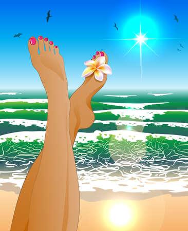 Vrouwelijke benen in gekleurde slippers tegen het zonnige strand