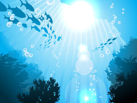 bottom of sea: Oceanic fishes against the sun  Illustration