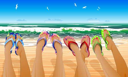 piernas de mujer: Piernas de mujer con flip flops de colores contra el sol y playa