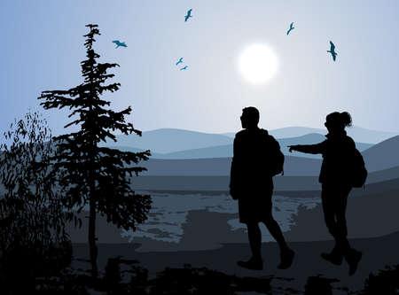 backpackers enjoying valley view  矢量图像