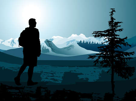 backpacker enjoying of a mountain valley view Vector