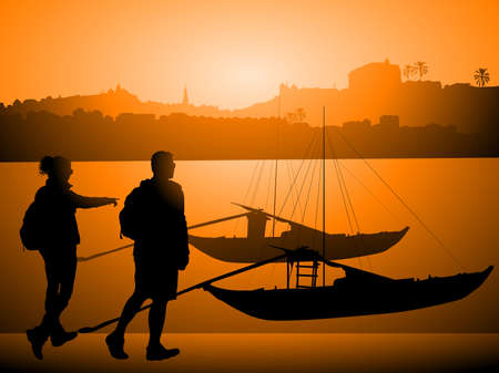 rabelo: Tourists against Boats on Douro river, Porto Portugal
