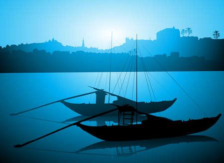 rabelo: Boats on Douro river, Porto Portugal  Illustration