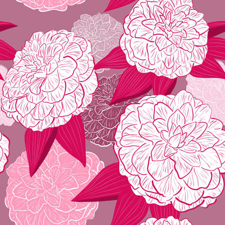 Seamless floral background with camellia flowers