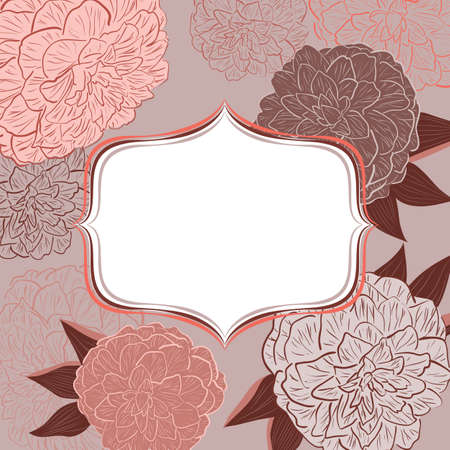 camellia: invitation with floral background  Illustration