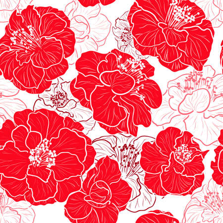 Seamless red pattern with floral background Vettoriali