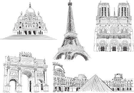 Attractions of Paris, France Illustration