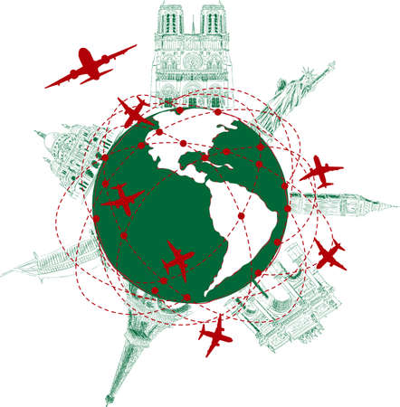 Different monuments on globe with airplane flying