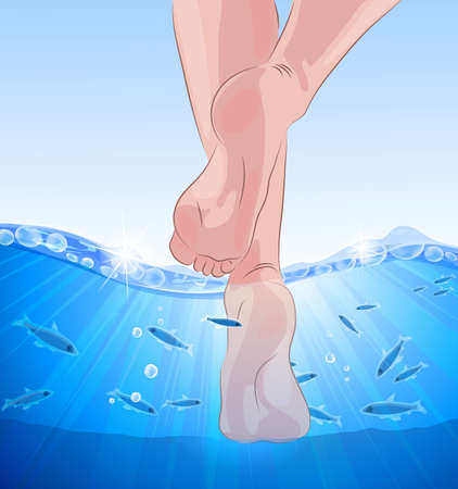 Fish spa, feet in blue water Vector