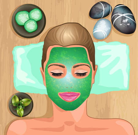 head massage:  Girl with facial mask