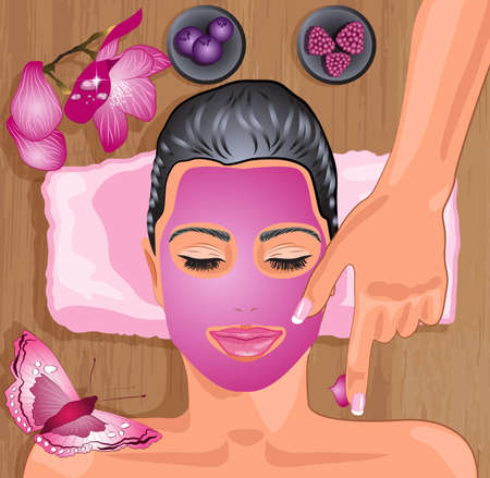 facial massage: Girl with fruity facial mask  Illustration