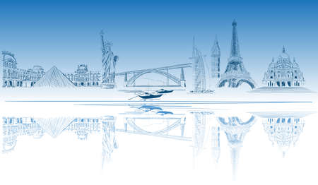 landmarks: World tourist destination Illustration