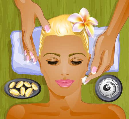 hair mask: Facial treatment, illustration Illustration