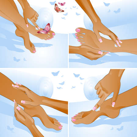 Foot care, massage  illustration Vector