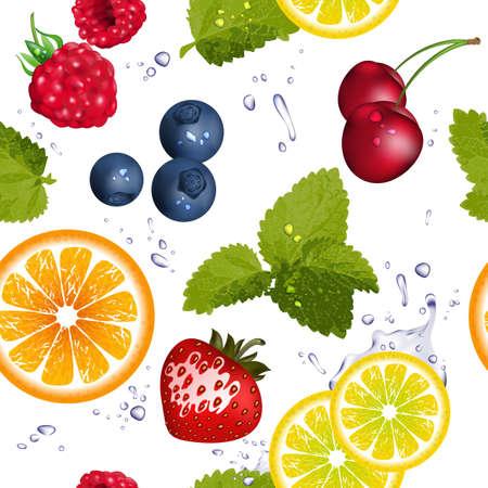 水のしぶきとフルーツのシームレス パターン