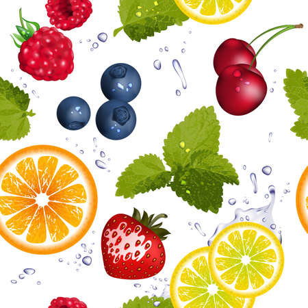 Seamless pattern with fruit and splash of water