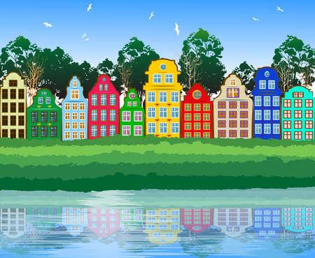 sky line: Multicolored City  Illustration