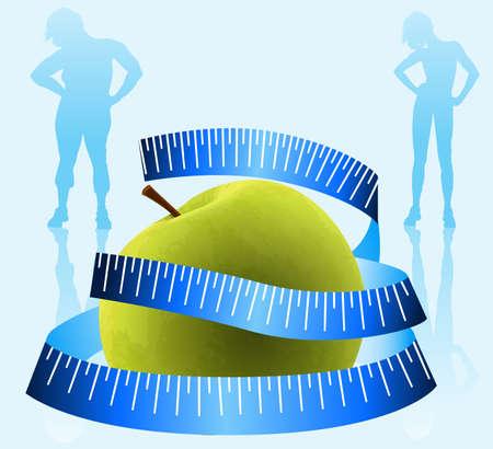 Green Apple con la medición Ilustración de vector