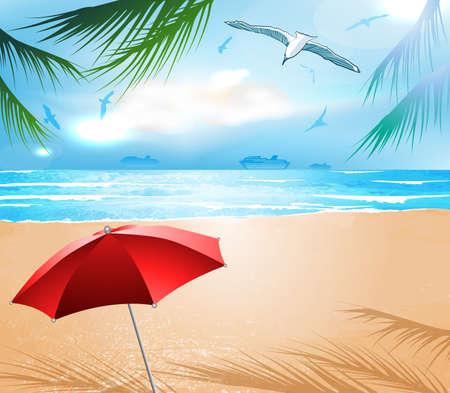 Empty idyllic tropical sand beach  矢量图像