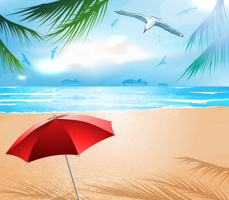 Empty idyllic tropical sand beach  Illustration