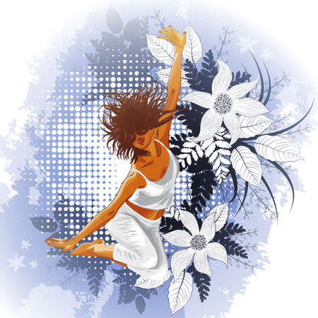 Floral background with dancing girl Vector
