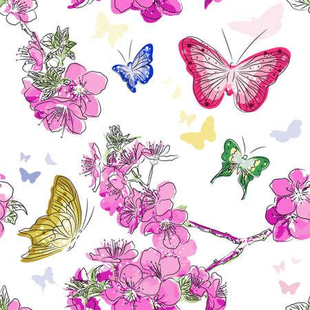 Naadloos patroon met bloemen achtergrond met vlinders Naadloze patroon met bloemen achtergrond met vlinders