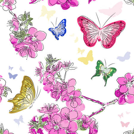 Seamless pattern with floral background with butterflies  Seamless pattern with floral background with butterflies Illustration
