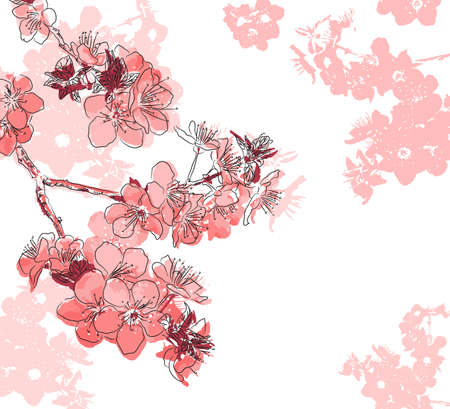 Retro floral background with a flower sakura Çizim