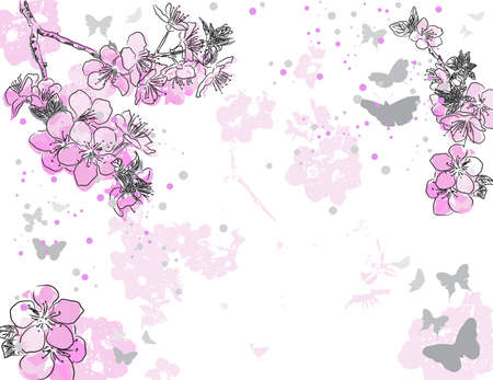 japanese apricot flower: Retro floral background with a flower  Illustration
