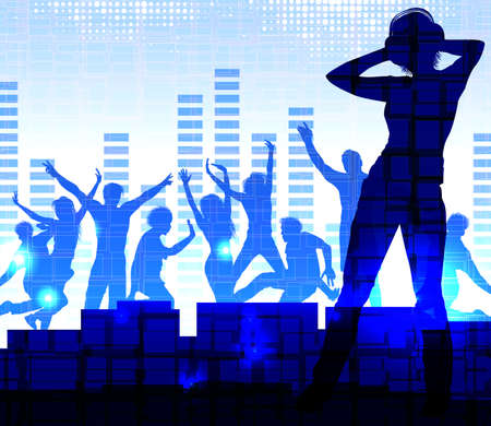 music dj: Music dj, nightparty background Illustration