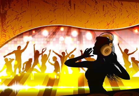 Silhouet van een vrouwelijke dj in voor een menigte Stock Illustratie