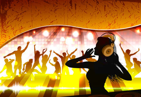 Silhouette of a female dj in front of a crowd