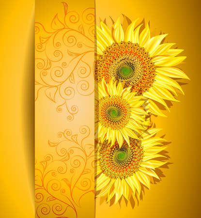 Abstract sunflowers background, Vector illustration