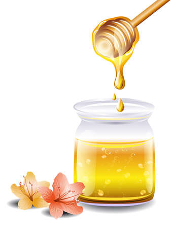 honey pot: Honey with a wooden stick and flowers Illustration