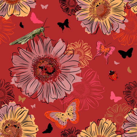 damsel: Vector Seamless Pattern with Insect and flowers