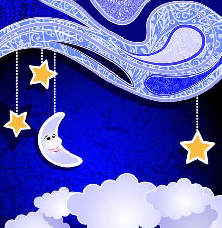 caras emociones: Noche Libro, luna sonriente, estrellas y nubes