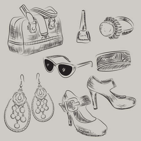 Vector illustration of woman accessories
