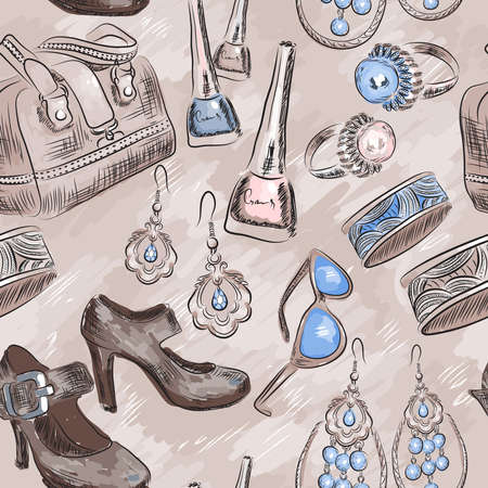 Pattern with woman accessories  Illustration