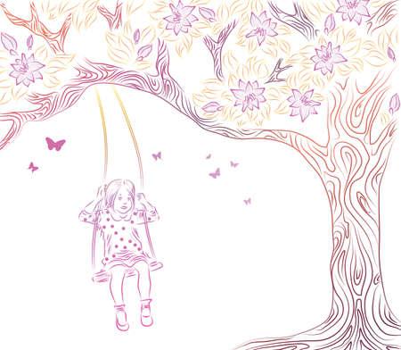 lonely bird: Vector illustration of girl on swing  Illustration